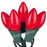 Premium  25 C9 Opaque Red Christmas Lights,Green Wire,Item Code:25C9ORDG