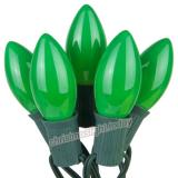 Premium  25 C9 Opaque Green Christmas Lights,Green Wire,Item Code:25C9OGNG