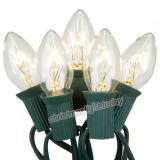 Premium  25 C9 Clear White  Christmas Lights,Green Wire,Item Code:25C9CWGN