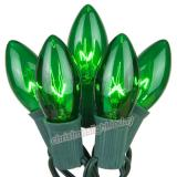 Premium  25 C9 Transparent Green Christmas Lights,Green Wire,Item Code:25C9TGNG
