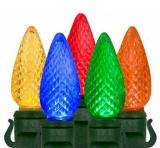 C9 LED Multi color Christmas Lights with Faceted , Spacing8