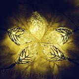 12 LED 12ft/ 3.7m Solar Powered Tree Leaf String Lights Metal Ornament Lights for Party, Indoor Outdoor Christmas,Item Code:12MLWWSO