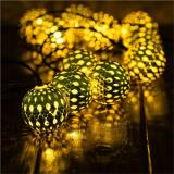 30 LED 10.5ft Gold Moroccan Waterproof Outdoor Warm White Solar String Lights for Fairy Garden,Christmas Tree,Item Code:30GMWWSO