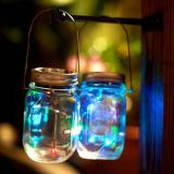 6 Pack 20 Led String Fairy Star Firefly Jar Lids Lights,Multicolor Copper Wire Mini Light,6 Hangers included(Jars Not Included), Best for Mason Jar Decor,Patio Garden Decor Solar Laterns Table  Item Code: 20JLMUSO