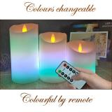 9 colours  3pcs/lot dia 7.5cm Remote Battery Operated LED Candle with Long Lasting Bright Light Flameless LED Candle Set with Hight Quality, Church Home Decor Lighting and Wedding Decoration, Item Code:75CDWWRE